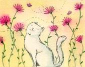 Original ACEO Painting -- Happy garden