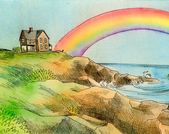 Original 4x6 Painting -- Rainbow by the ocean