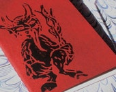Hand Printed Notebook Krampus Black on Red