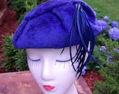 Vintage felt blue hat with blue feathers now on sale