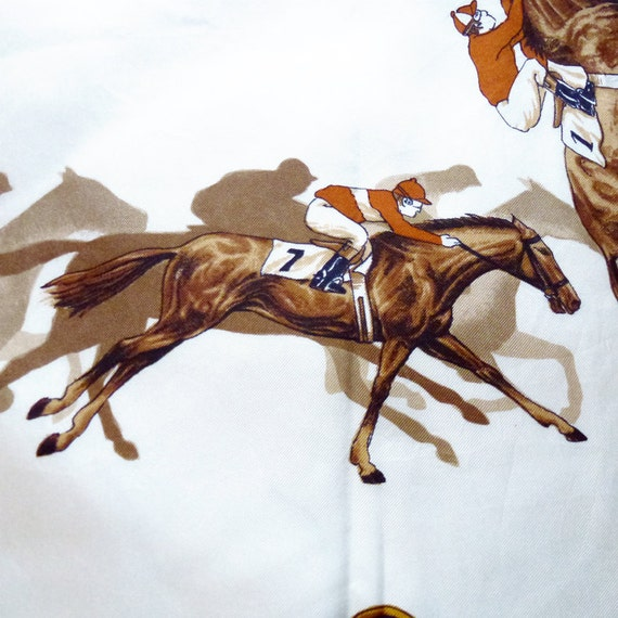 Vintage 80's ERRE brand original horse racing motif print scarf