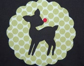 Size 6 Girls Christmas Tee ... Ready To Ship ... Girls Rudolph Red Nosed Reindeer holiday shirt in Green Polka Dots