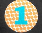 1st Birthday Tee ... Boys Orange Polka Dot First birthday shirt