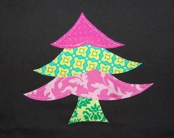 Christmas Outfit / READY TO SHIP / Size 18 - 24 months / Girls Christmas Tree Shirt / Whimsy Christmas Tree tshirt for Girls