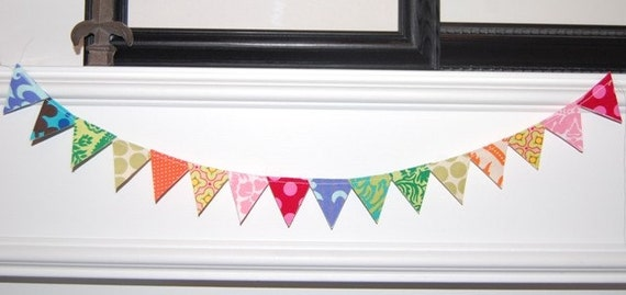 Mini Fabric Bunting Banner - Rainbow Birthday Party