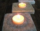 3 Travertine Tea Light Candle Holders (includes soy candles)