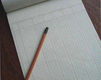 Vintage Ledger Paper / Tablet of 50 Large Sheets / Project Supplies / Columnar Ruled Pad