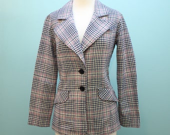 SALE - 60's / 70's Plaid Wool Jacket / Blazer with Wide Lapels / Navy & Pink Plaid / XSmall