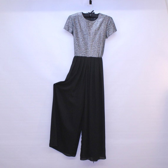 Vintage Evening Jumpsuit - Sparkles and Chiffon - XSmall to Small