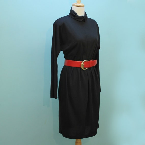 HALF PRICE SALE - 70's Black Jersey Knit Elastic Waist Dress  with Turtleneck and Bat Wing Sleeves- Small