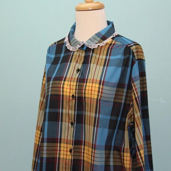 SALE - 70's Plaid Cotton Blouse / Peter Pan Collar / Large to XLarge