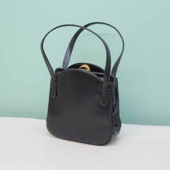 Classic 60's Handbag - Navy Blue Leather kelly Bag Style with Lots of Pockets