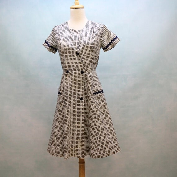 40's - 50's  Cotton Day Dress in Navy Mini Print - XSmall to Small