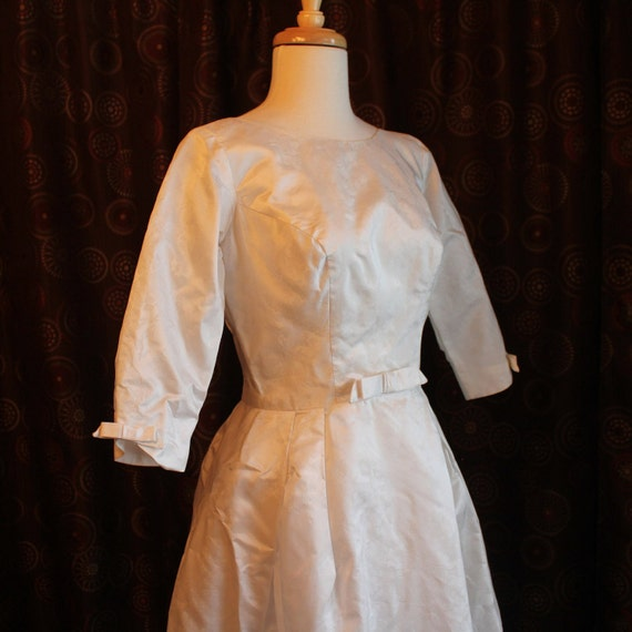 60's  Vintage White Satin Brocade Wedding Gown with Removeable Train - XSmall