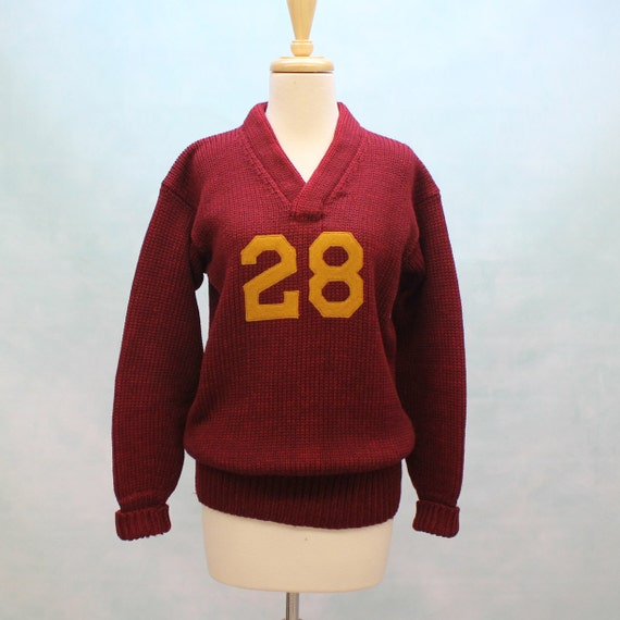 50's - 60's Varsity Style Heavy Wool V Neck Sweater in Maroon - Mens or Womens XSmall to Small