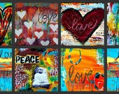 Inspirational Set (of 8) Blank Greeting Cards with Envelopes - Gift Set, Stationary Set, Card Assortment, Buddha, Hearts, Love, Peace