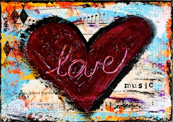 """Love is Music 5""""x7"""" Blank Greeting Card with Envelope - All Occasion, Birthday, Wedding, Bridal Shower, Music, Love, Wholesale Art Cards"""