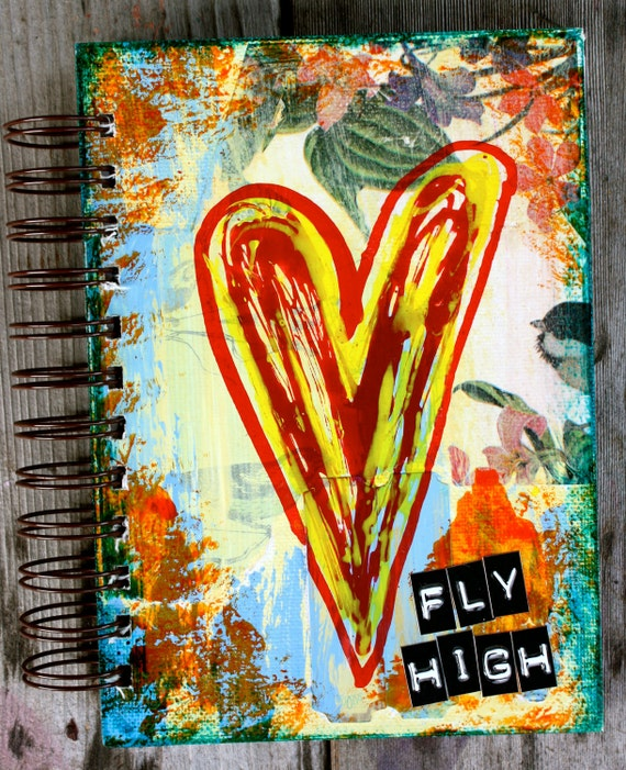 """Fly High - One of a Kind 5""""x7"""" Lined Paper Mixed Media Journal - Notebook"""