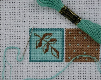 Modular Pattern 1 -  Leaves and Dots  /  Cross Stitch Pattern