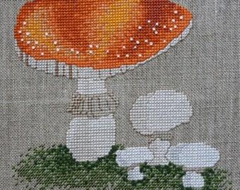 Orange Woodland Toadstool Cross Stitch Pattern