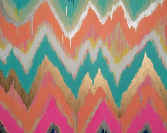 Custom ikat chevron 30x30 Painting by Jennifer Moreman