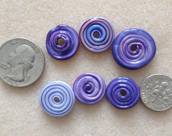 Assorted Purple Lampwork Disc Beads