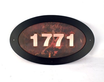 Personalized Copper Oval Address Sign