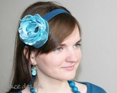 Turquoise Spring Flower Headband and Brooch