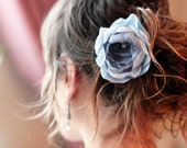 Hair Comb with light dusty blue Flower