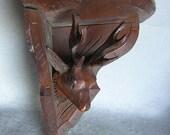 Victorian Black Forest Hand Carved Deer Head Shelf