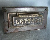 Antique Victorian Mail Box Slot Brass and Wood