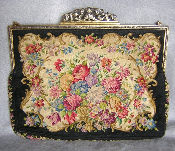Beautiful Old French Petitpoint Handbag with Roses, Urn