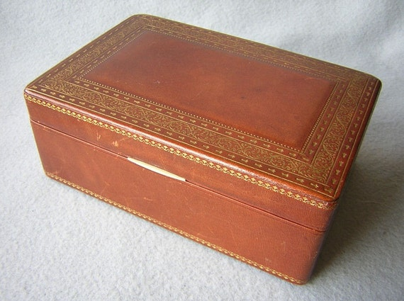 Fine Tooled Leather Jewelry Trinket Box By Rumpp