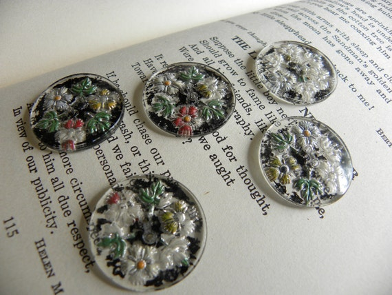 Shabby Vintage Painted Glass Buttons