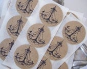 French Chandelier Stickers Envelope Seals, Kraft Black - Set of 30 - Great for Weddings, Scrapbooks and more