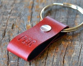 Monogrammed Red and Black Leather Keychain - Short & Wide Style
