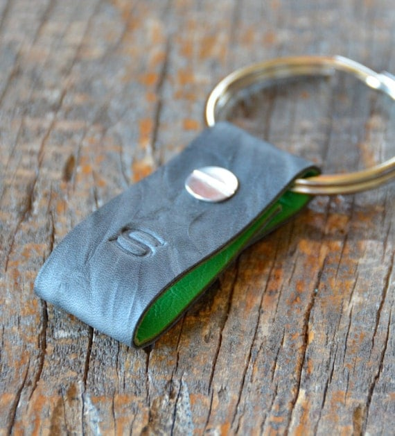Monogrammed Crinkled Grey and Green Leather Keychain (Style 1)