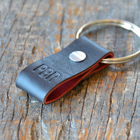 Monogrammed Midnight Brown and Red Leather Keychain (Style 2)