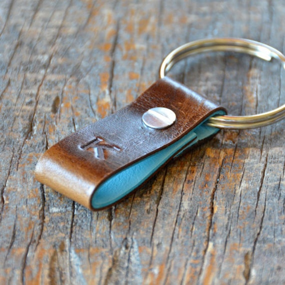 Monogrammed Distressed Brown and Light Blue Leather Keychain (Style 1)