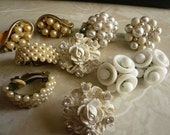 GREAT SALE Vintage Variety Lot Of Button Vintage Earrings Whites Pearl Rhinestone Milk Glass