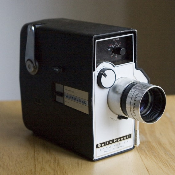 Bell and Howell 8mm Reflex Zoom Cine Camera with Case and Power Grip