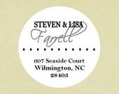Return address labels, stickers, tags, envelope seals, round--basic dot