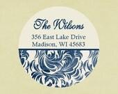 Return address labels, stickers, tags, envelope seals, round--Joyful navy