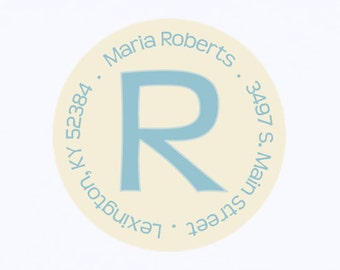Return address labels, stickers, tags, envelope seals, round--Blue initial