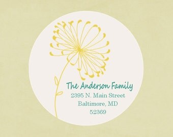 Return address labels, stickers, tags, envelope seals, round--Dandelion
