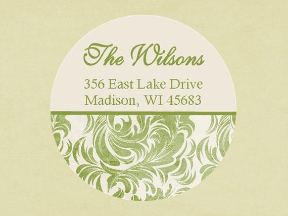 Return address labels, stickers, tags, envelope seals, round--Joyful green