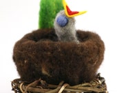 Needle-Felted Hungry Baby Bird in Nest