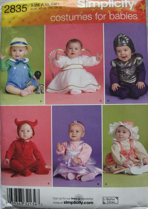 Simplicity 2835 Costume Pattern for Babies- Angel, Knight