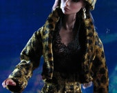 Leopard Print pants, jacket, hat and black lace edged blouse for Fashion Royalty, Dynamite Girl, Barbie and similar size dolls