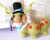 Wendell the Book Worm  Needle Felted Sculpture